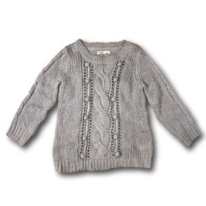 Old Navy Womens Cable Knit Gray Sweater Scoop Neck